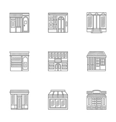 Storefronts linear icons collection vector