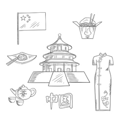 Travel to China sketch icon for tourism design vector image vector image