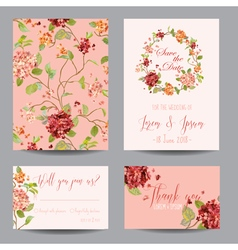 Vintage Hortensia Flowers - for Wedding Invitation vector image