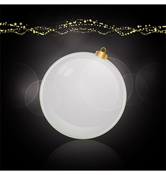 White bauble and decoration over black vector image vector image