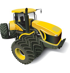 Yellow modern tractor vector