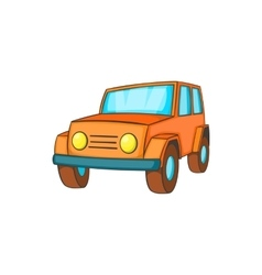 Orange jeep icon in cartoon style vector