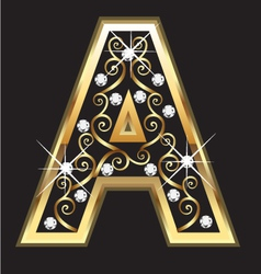 A gold letter with swirly ornaments vector