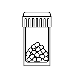 Silhouette bottle with tap and pills vector
