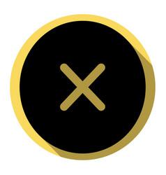 Cross sign   flat black icon vector