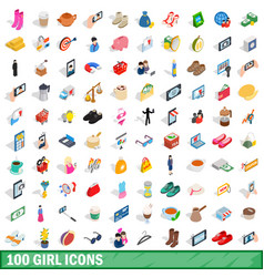 100 girl icons set isometric 3d style vector image