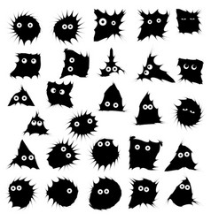 Black funny monsters ink blots isolated set on vector