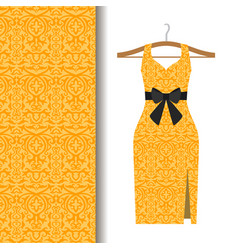 Dress fabric with yellow arabic pattern vector