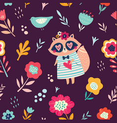 Raccoon and flowers vector