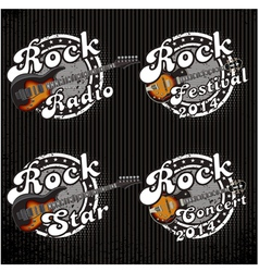 Icons with guitars and various inscriptions vector