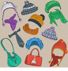 Et hipster winter warm knitted hats and scarves vector