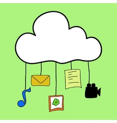 Cloud computing in doodle style vector