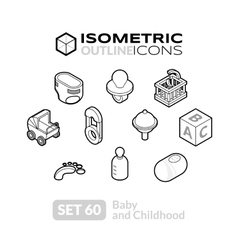 Isometric outline icons set 60 vector