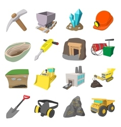 Mining icons cartoon set vector
