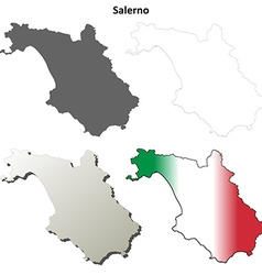 Salerno blank detailed outline map set vector