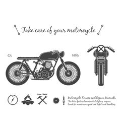Vintage motorcycle infographic Cafe racer theme vector image