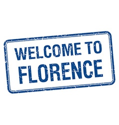 Welcome to florence blue grunge square stamp vector