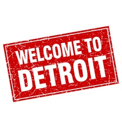Detroit red square grunge welcome to stamp vector