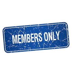 Members only blue square grunge textured isolated vector