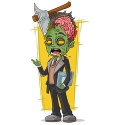 Cartoon dead zombie business man vector