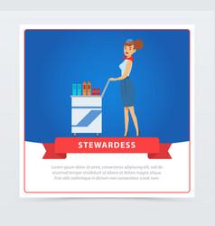 Air stewardess serves food and drinks vector