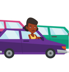 Angry african woman in car stuck in traffic jam vector