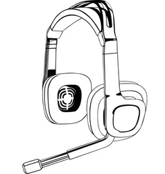 black and white headphones vector image