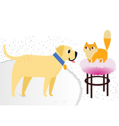Cat and dog characters best happy friends flat vector