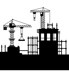Construction Site with Tower Cranes vector image vector image