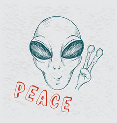 cool alien show symbol of peace vector image vector image