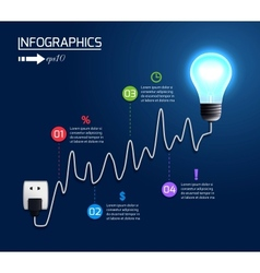 Creative light bulb growing chart graph vector image vector image