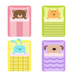 Cute sleeping animal set cat bear dog rabbit hare vector