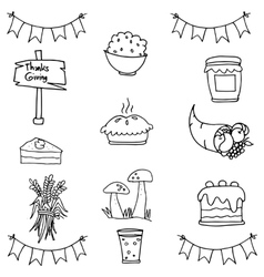 Doodle of thanksgiving set object vector