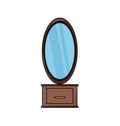 Dressing table with mirror icon vector