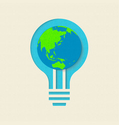 Earth day green light bulb paper cut design vector