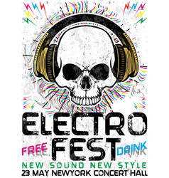 electro fest music poster design vector image vector image