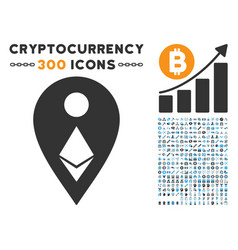 Ethereum map marker flat icon with set vector