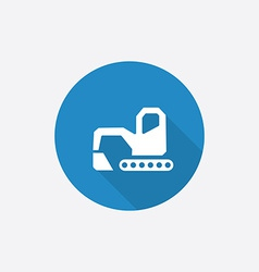 Excavator flat blue simple icon with long shadow vector