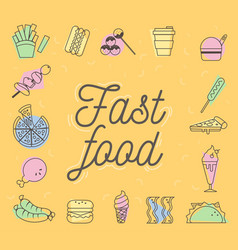 Fast food icons design set vector