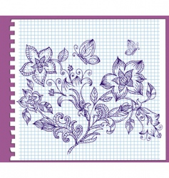 floral pattern ink vector image