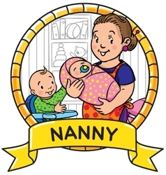 Funny mother or nanny with children emblem vector