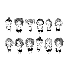 Girls in bras sketch for your design vector image vector image