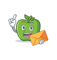 Green apple character cartoon with envelope vector
