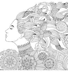 hand drawn woman with floral vector image