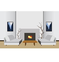 Interior room with fireplace vector