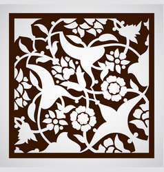 Laser cut floral arabesque ornament pattern vector