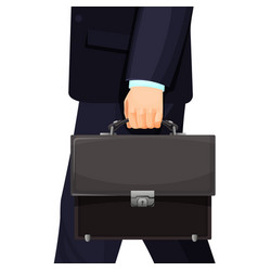 Man in suit carrying leather briefcase vector