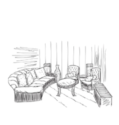 Modern interior room sketch Hand drawn furniture vector image vector image