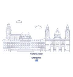 Montevideo city skyline uruguay vector
