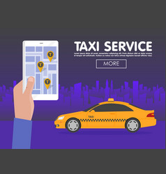 phone with interface taxi on screen on background vector image vector image